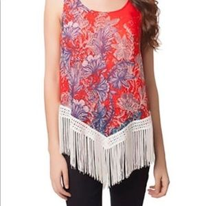 100% Silk Floral Tunic with Fringe Bottom